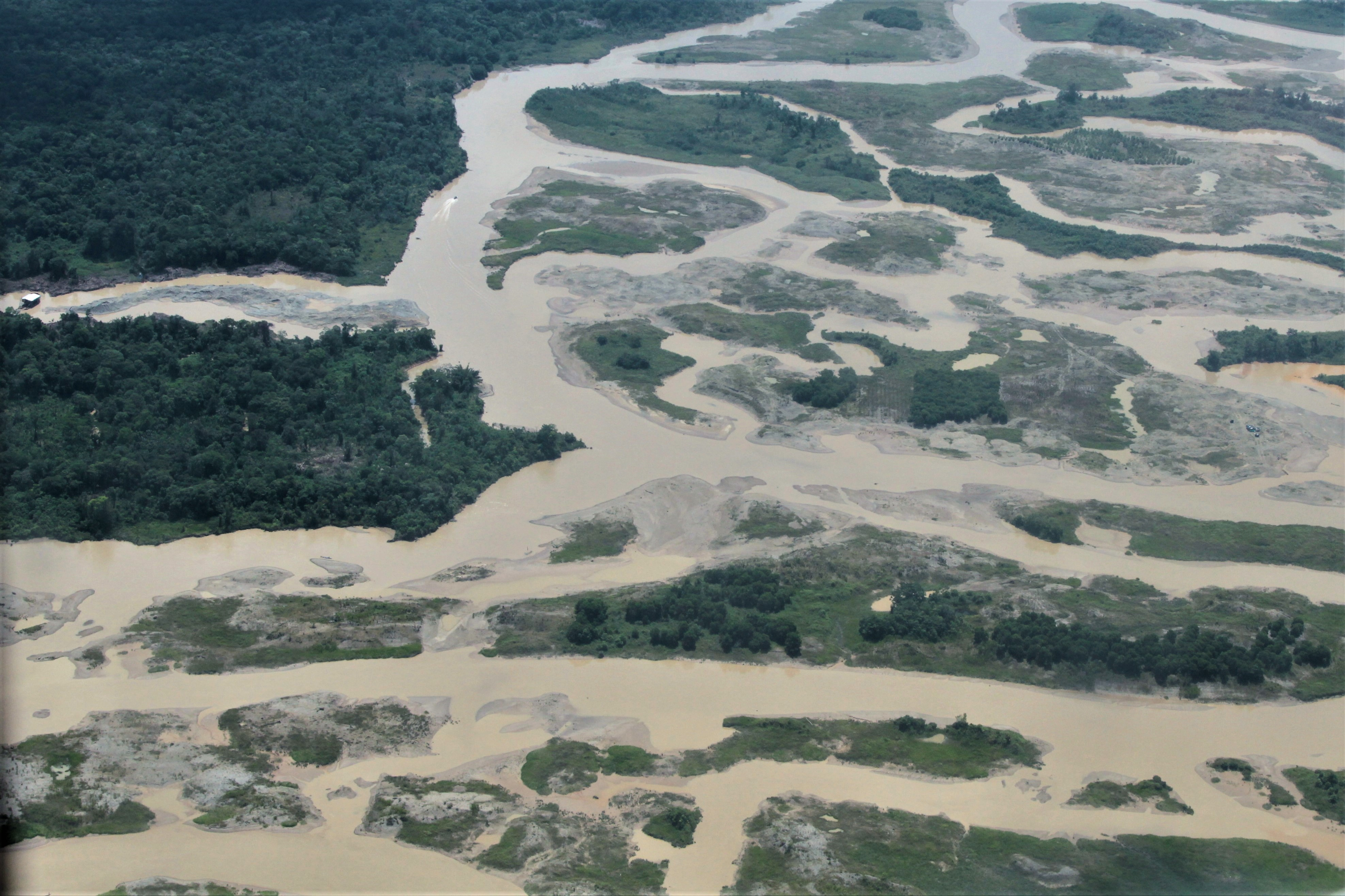 Extensive environmental damage from illegal mining on the Quito River, Chocó region